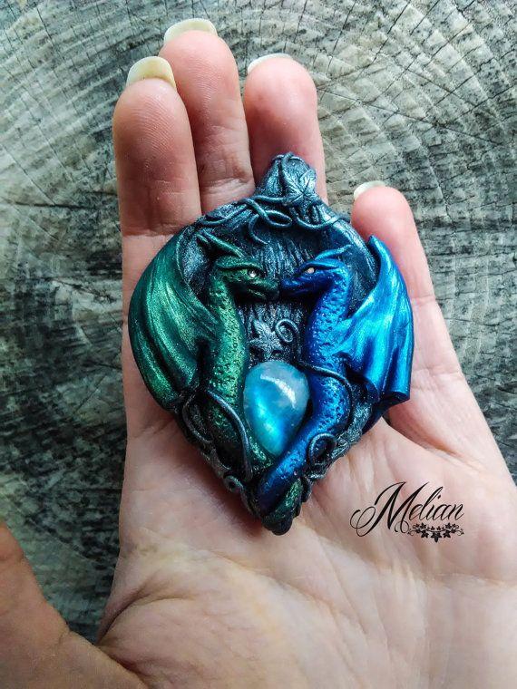 Dragons in love dragon pendant dragon kiss by MelianArt on Etsy