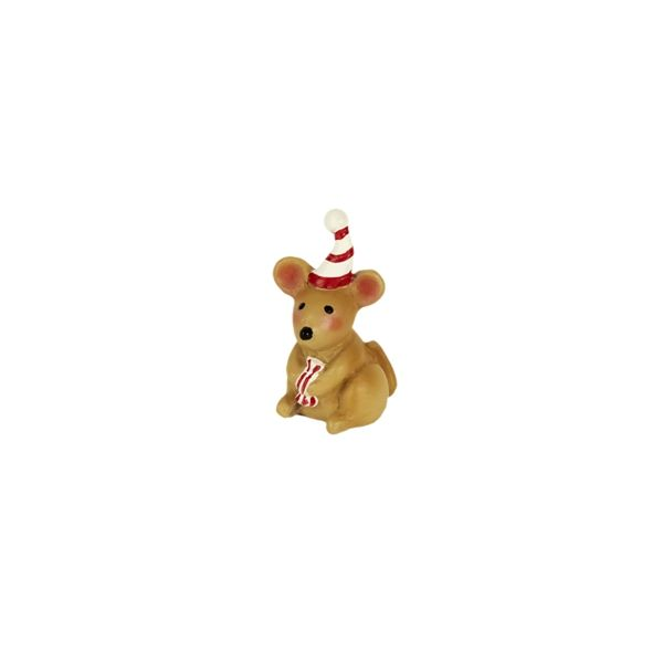 This little guy got his hands on a piece of Christmas candy! Designed by Mary Engelbreit, this adorable mouse features all-weather paint and hand-painted d
