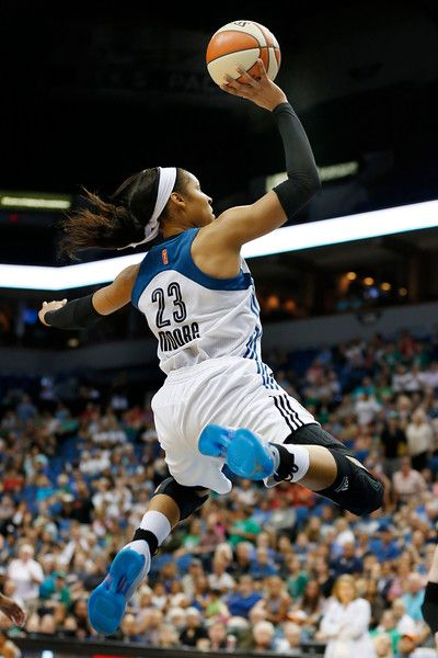 Minnesota Lynx forward Maya Moore soars to the basket during the second half of a WNBA basketball game against the San Antonio Stars, Tuesday, Aug. 11, 2015, in Minneapolis. The Lynx won 83-76 and Moore scored 32 points. (AP Photo/Stacy Bengs)