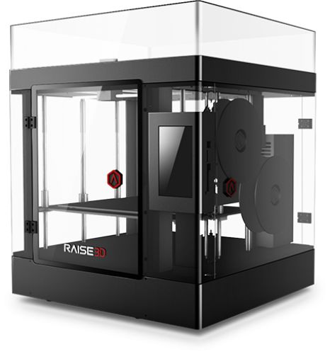 "The Raise3D printing temperature can reach up to 300°C for printing a wide range of filament. Also comes with a beautiful 7"" touch-screen, remote control function and resume printing function after power interruption."