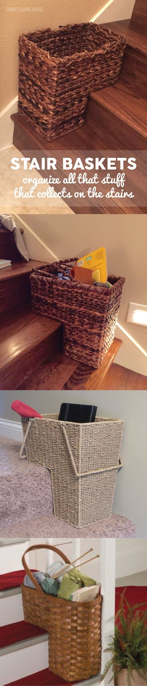 Stair Baskets! Use these to organize all of that stuff that collects on the stairs. Here's where to get them!