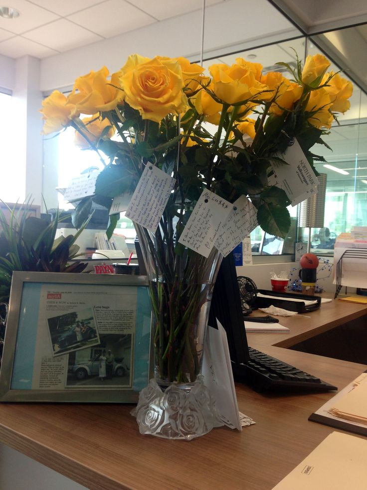 My best idea yet!  So we needed to do something nice for a co- worker that was leaving the company after 20 plus years. Just buying her flowers wasn't enough we need something meaningful so....we bought 2 dozen yellow roses and a vase. We placed the vase on her desk throughout the day she received a single flower from each coworker with a hand written note attached to it. Awesome turn out!! Great idea for a touching goodbye!!