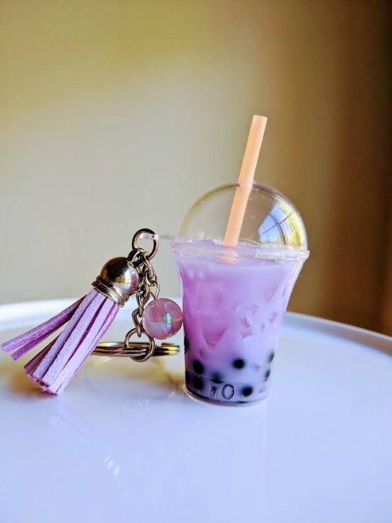 Bubble Tea Aesthetic Boba Glitter Keychain Acrylic Charm gift