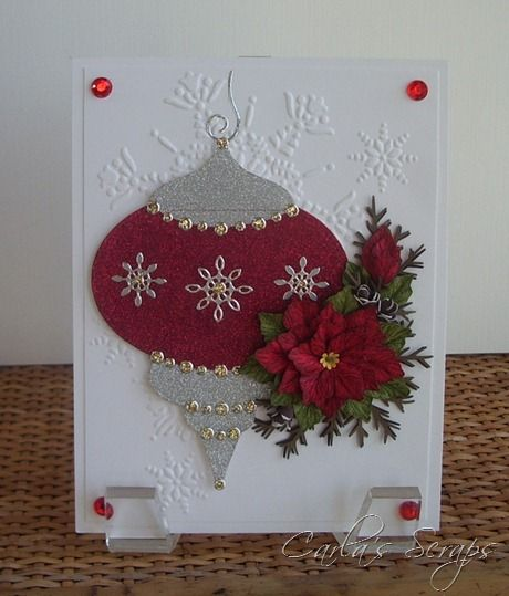 really pretty: Christmas Cards, Christmas Wint Cards, Crafts Ideas, Cards Christmas, Heirloom Ornaments, Christmaswint Cards, Ornaments Cards, Carla Scrap, Xmas Cards