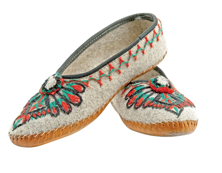 A pair of traditional Polish folk costume shoes called 'Kierpce' - Podhale