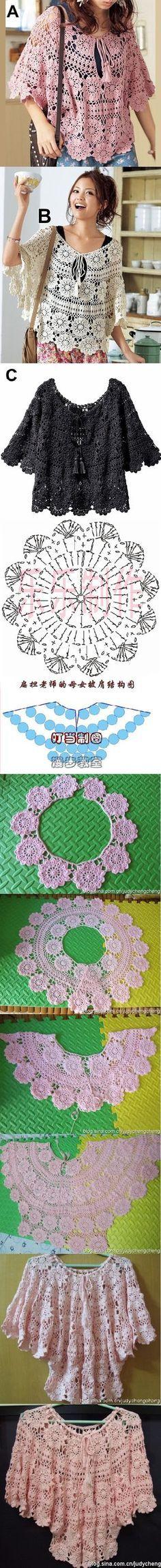 Poncho em crochê com flores (com gráfico)