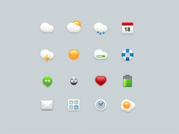 16 Cartoon Style Web & Weather Icons - http://www.dawnbrushes.com/16-cartoon-style-web-weather-icons/
