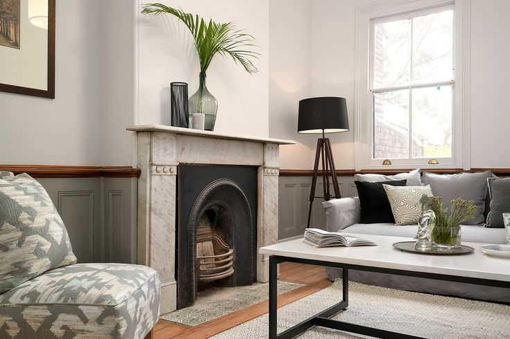 Living & dining rooms w marble fireplace