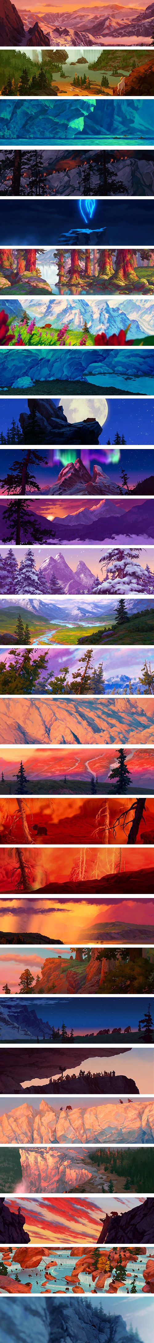 digital illustrated landscapes and backgrounds