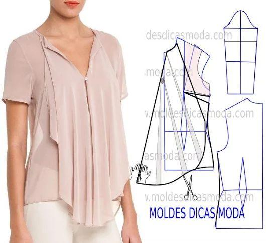 MOLDE BLUSA ROSA -71 - Moldes Moda por Medida