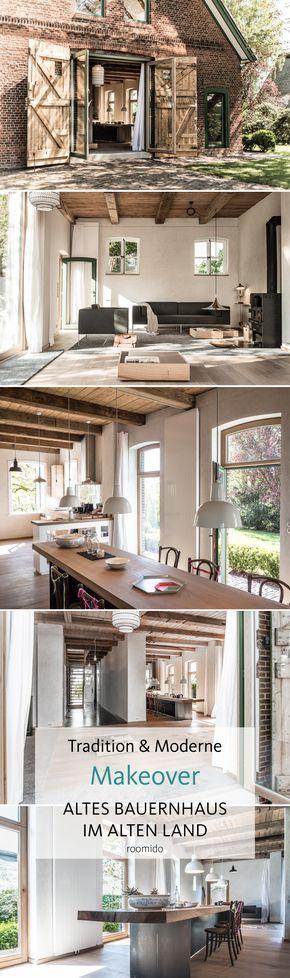 Ein alter Bauernhof wird umgebaut: Hell, modern und zurückhaltend wohnlich mit viel Charme! #wohnzimmer #esszimmer #holztisch