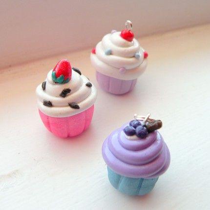 polymer clay miniature food cute kawaii Cupcake Necklace