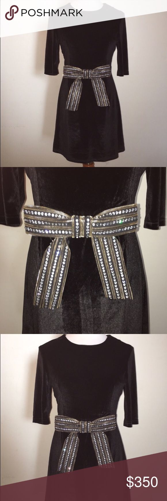 Stunning Ted Baker Evening Dress. Stunning Ted Baker Evening Dress. Black velour with a gorgeous accent studded bow at the waist. Baker by Ted Baker Dresses