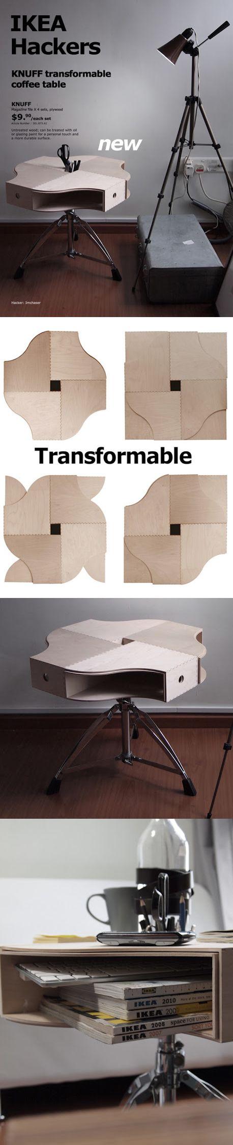 Mesita de café con taburete y archivadores de Ikea / ikeahackers