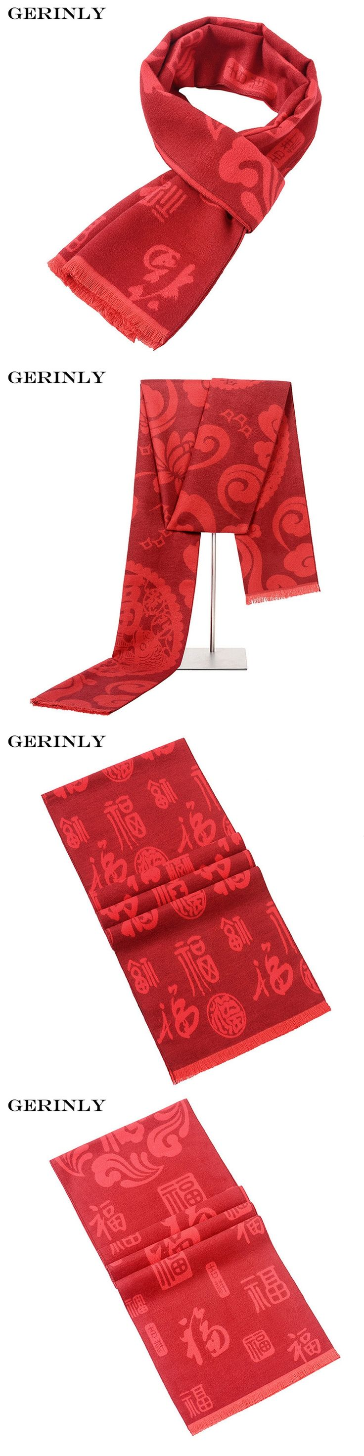 GERINLY Brand Men Scarf Luxury Red Scarves Autumn Winter Chinese Style Blessing Long Scarf 180*30cm Warm Neckerchief Male Gifts