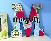 Boy Room Nursery Decor hanging letter M customizable unique gift - i could do this. decopage and shiny scrapbook letters or cricut