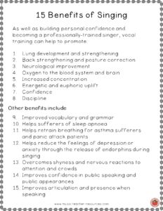 15 Benefits of Singing! FREE download ♫ CLICK through to download or repin for later! ♫