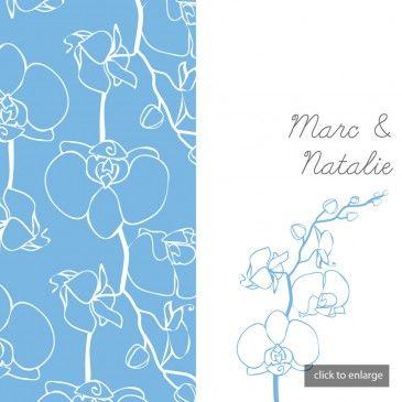 Duck Egg Blue & White Sweetpea Wedding Invitations
