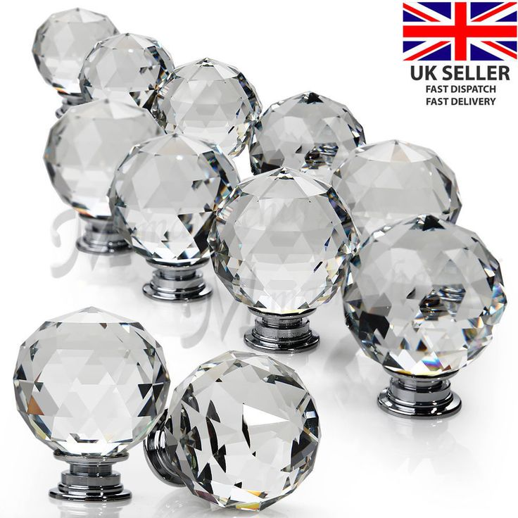 16pcs Door Knob Handles Cupboard Drawer Cabinet Kitchen Clear Crystal Glass UK. Not China or Hong Kong which take up to a month to receive. Made from quality K9 Crystal Glass. Dimensions: 30mm Diameter, 30mm Crystal Ball Depth, 40mm Depth including base. | eBay!