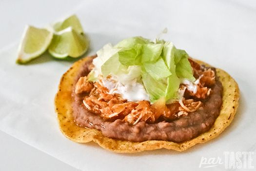 A classic Mexican preparation, tostadas de tinga de pollo are one of the most typical and delicious ways to enjoy this chipotle-spiced chicken.