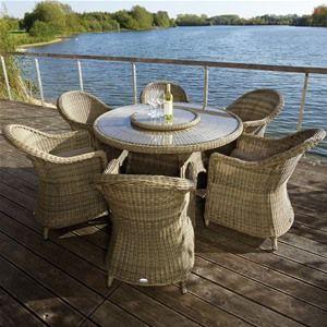 Bramblecrest 6 Seat Sahara Round Rattan Garden Furniture Set