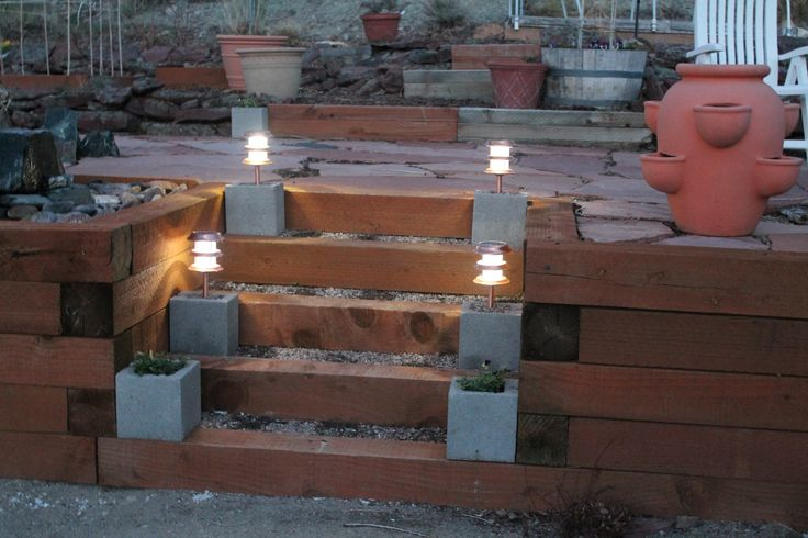 10 Great Deck Lighting Ideas For Your Outdoor Patio: Make Your Own DIY Bases For Backyard Solar Lights Using