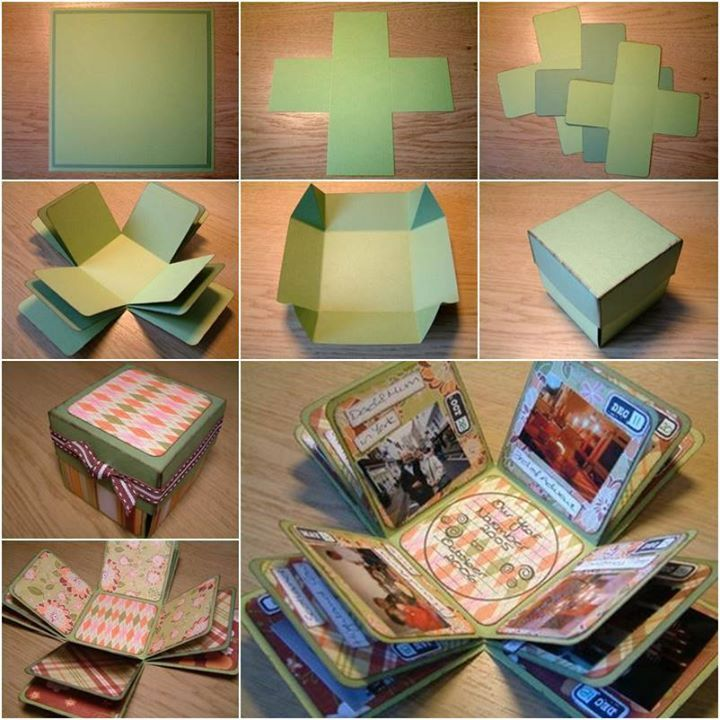 """How to DIY Creative Box Photo Album! Photos record valuable memories of people. Creating a unique representation of photos help to bring up all those valuable memories. This cute box album is a pleasant little surprise for the receiver because it opens, or """"explodes"""", into a cool little album when the lid is taken off. It makes a great gift for family and friends! #diyphotoalbum #greatgiftidea #coolalbumidea"""