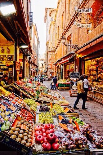 The Quadrilatero in Bologna, Italy is the food district in this medieval area of town.