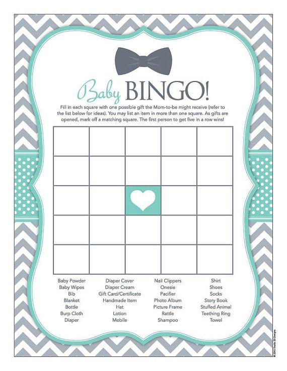 Instant Download Bow Tie Baby Shower Bingo Game by Studio20Designs