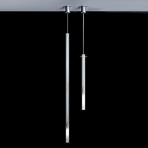 With its long transparent body and segmented ambient lighting, the Canna Nuda Glass Pendant by Nemo brings a sophisticated presence to a variety of contemporary settings. Its incredibly slim form consists of a sandblasted Glass cylinder that is accented and supported by discreet Satin Nickel hardware. Once lit, a G9 base halogen bulb illuminates the bottom portion, providing a funneled downlight and a soft ambient glow that immediately catches the eye.