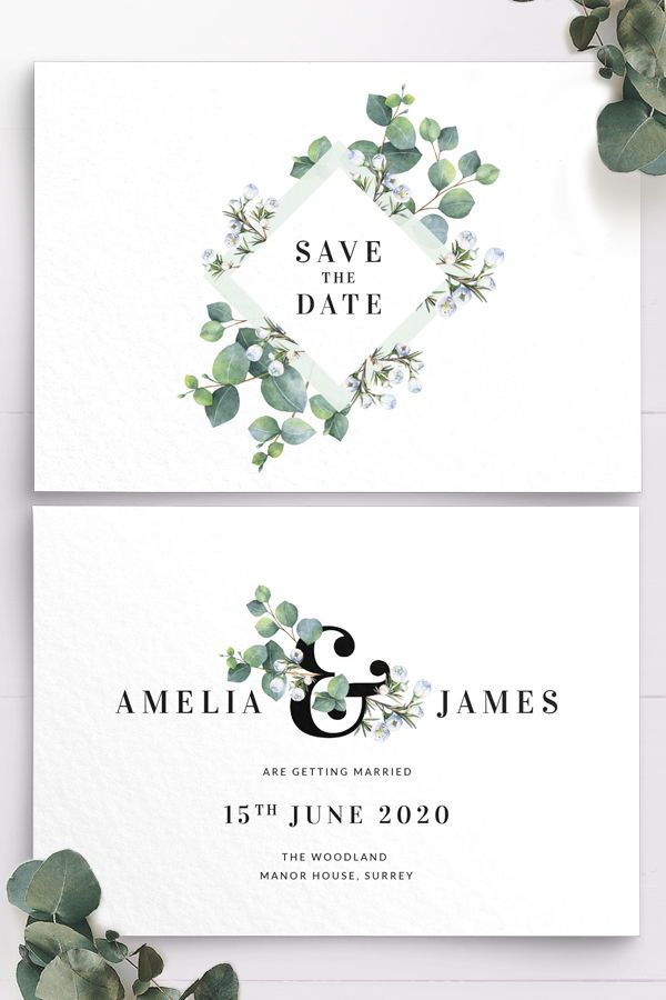 Personalized Printable Elegant Save the Date Card