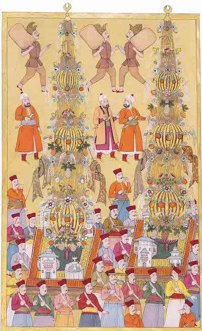 esim 1: 1720 Şenliğinde Dev Nahıllar, Surnâm-i Vehbî, TSM, A3593 (Kaynak: Osmanlı Tasvir Sanatları 1)