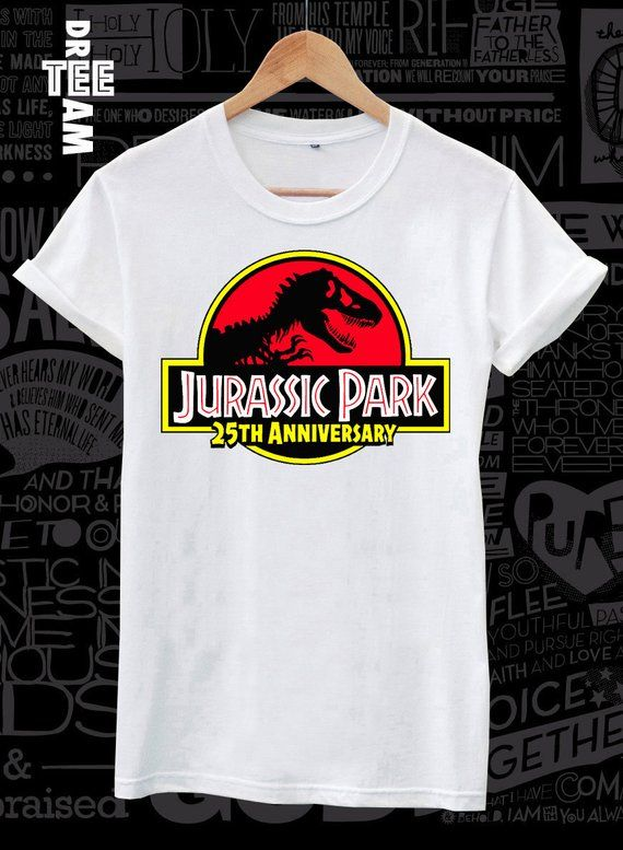 122f3aef6 Cool #Vintage #logo #Jurassic #park 25th #anniversary #print on white black  or gray lose or tight fit cotton men women t-shirt #DreamTEE