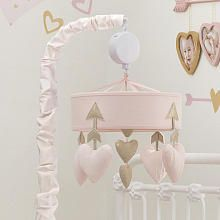 Lambs & Ivy® Baby Love Pink/Gold Heart Musical Mobile