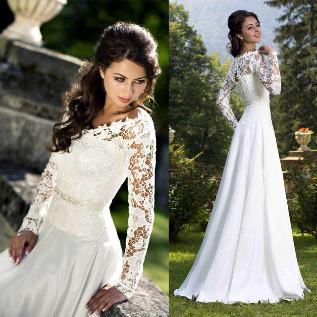 Романтический кружево длинный рукав пляж свадьба платья свадебные платья дес с v-образным вырезом шифон шлейф «для суда» Vestido де Noiva обычный заказ