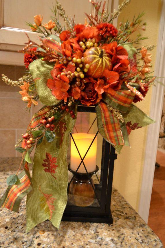 Pumpkin Lantern Swag With Green Leaf Ribbon by kristenscreations