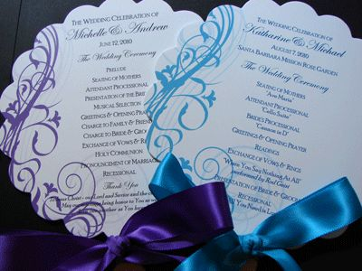 Purple U0026 Turquoise Program Fans, Perfect For Outdoor Wedding!