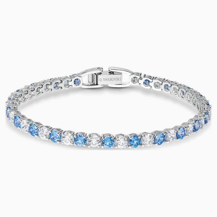 Tennis Deluxe Bracelet Blue Rhodium Plated By Swarovski In 2020 Swarovski Jewelry Swarovski Bracelet Crystal Bracelets
