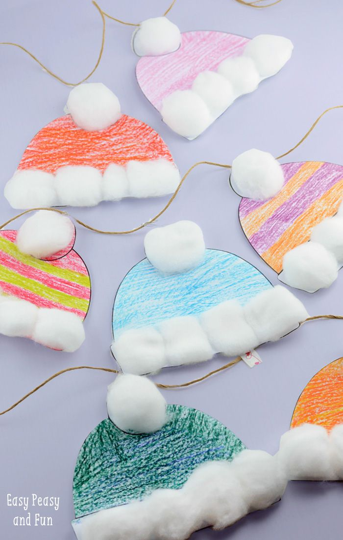 Winter Hats Craft for Kids - Perfect Classroom Winter Craft With Free Printable