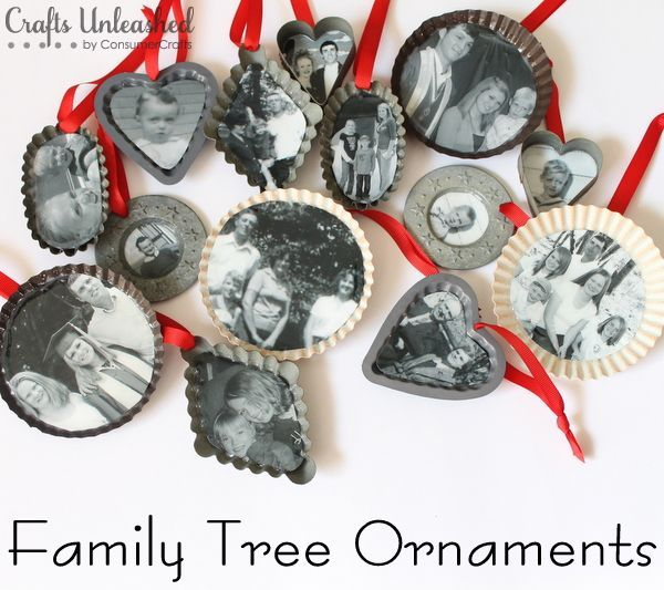 Family Tree Handmade Christmas Ornaments - A meaningful way to incorporate old photos into your Christmas ornament crafts.