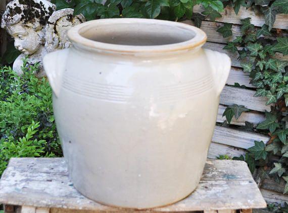 Large Sandstone Pot / Antique stoneware Jar / Confit Pot