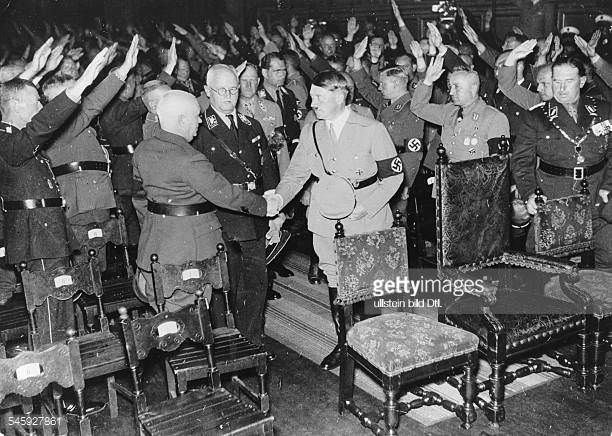 Germany Third Reich Nuremberg Rally 1933 Adolf Hitler shaking hands with the Bavarian prime minister Ludwig Siebert.