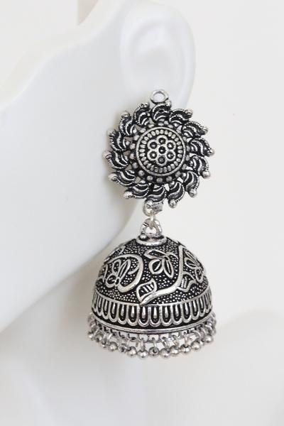 Silver replica jhumka at affordable price.