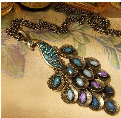 elegant peacock charm necklace beautiful feathers by qizhouhuang, $4.50