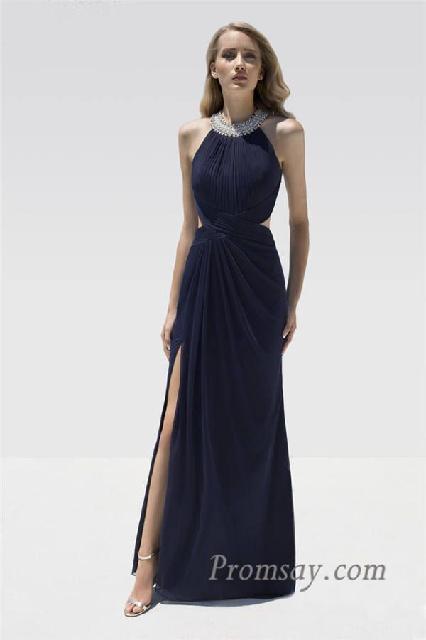 Beaded Halter Neck Ruched Long Navy Split Prom Dress with Cutout by Eleni Elias P621
