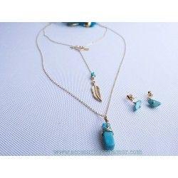 Collar oro goldfilled opalo azul