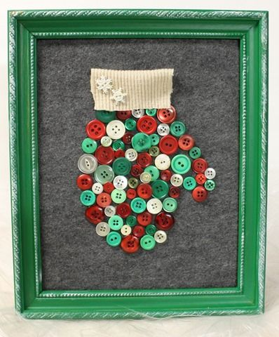 DIY Mitten Art with Buttons