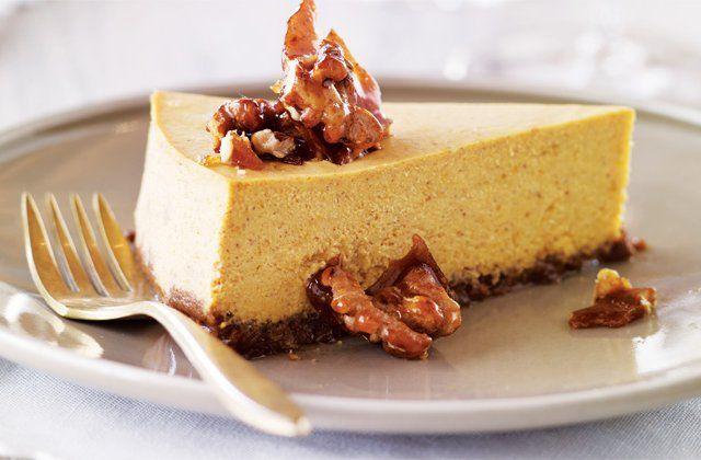 Pumpkin cheesecake with gingersnap-walnut crust. Get the recipe here!