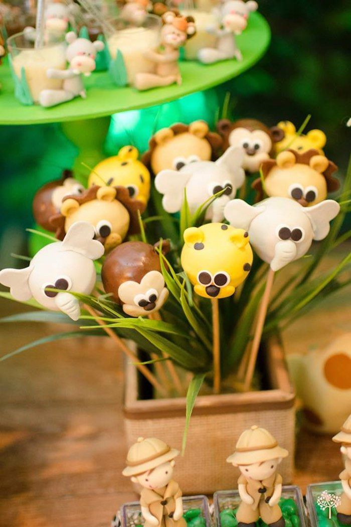Safari Animal Cake Pops from a Jungle Safari Birthday Party