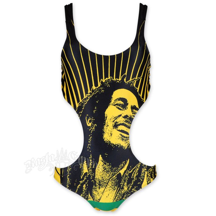 This black monokini swimsuit features Bob Marley smiling with rays in the background and Rasta stripes